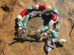 Turquoise Coral & Pearl Double Strand Bracelet, fleurdesignz