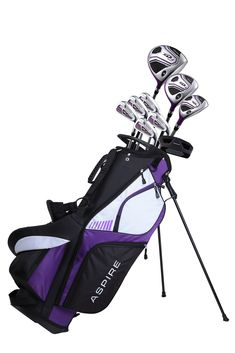 Aspire XD1 Ladies Womens Complete Golf Clubs Set Includes Driver, Fairway, Hybrid, 6-PW Irons, Putter, Stand Bag, 3 H/C's Purple (This is an affiliate pin) Ladies Golf Clubs, Best Golf Clubs, Golf Clubs For Sale, Famous Golfers, Golf Club Sets, Golf Shop, Perfect Golf, Golf Gifts, Golf Accessories
