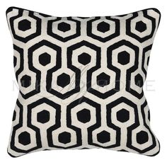 Ivory & black cushion cover by Haygen. A stylish, contemporary addition to any sofa, chair or