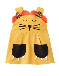 Sleepy Lion- girls & toddler character play dress in softest gold corduroy  Handmade from beautiful soft European cotton corduroy , this