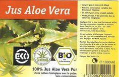 etiquette de notre Aloe Vera avec les sigles Bio!