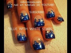 easy short nails Dark Blue Tips with White Stars: robin moses nail art tutorial design  415 cute-nail-art-pictures-with-tutorials
