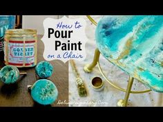 """How to do a """"Geode-Paint-Pour"""" on a Chair- Inspired by Anthropologie Drawer Knobs"""