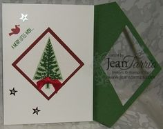 Jeannine Tarrio Stampin' Up! Demonstrator Maine Stampers Day Festival of Trees - Directions in the post or for a video Diamond cut card   - tutorial for this type card is here http://youtu.be/XLqOXCP0Ly0