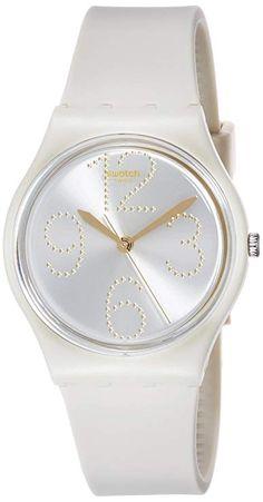 1f26581ddf9c Amazon.com  Swatch Sheerchic Silver Dial Beige Silicone Strap Ladies Watch  GT107  Swatch  Watches
