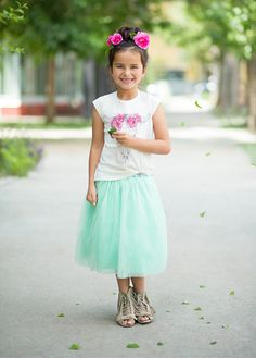 This long and luxe skirt is made of the softest tulle in a pretty shade of mint. Elastic waist with sparkly rhinestone detail. My Little Girl, My Girl, Bohemian Kids, Tutu, Fashion Forward, Elastic Waist, What To Wear, Flower Girl Dresses, Mint