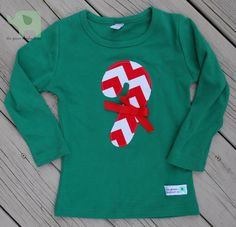 Girl's Candy Cane Shirt on Etsy, $18.50