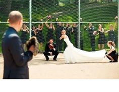 sporty bride baseball photo with the whole wedding party...love this idea!