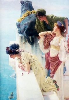"""""""A Coign of Vantage"""", 1895 Sir Lawrence Alma-Tadema, Dutch , 1836 - 1912 Coign : Projecting corner or angle of a wall. Vantage : Position affording a good view of something."""