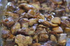 bourbon chicken;Serves 8 ( 7 points + )        1/2 bottle teriyaki marinade ( I used Lawry's teriyaki with pineapple)   1/2 cup low-sodium soy sauce   1/3 cup orange juice   1/4 teaspoon grated fresh ginger   Crushed red pepper flakes   1 tablespoon garlic powder   1/4 cup bourbon   1/2 cup packed dark brown sugar    3 pounds boneless skinless chicken thighs, fat cut off   In a large ziplock bag, combine all ingredients except chicken. Cut chicken into bite sized pieces and add to the…