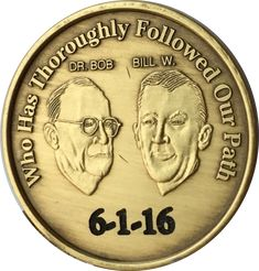 Engraved Personalized AA Founders Bill & Bob Bronze Medallion Sobriety Chip
