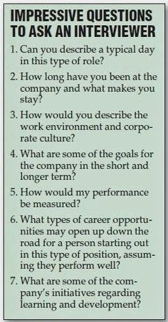 Impressive Questions to Ask an Interviewer