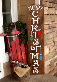 Merry Christmas With Ornaments ~ Wooden Sign Christmas Wooden Signs, Wooden Christmas Decorations, Christmas Wood Crafts, Christmas Porch, Christmas Projects, Holiday Crafts, Christmas Holidays, Merry Christmas Signs, Porch Signs