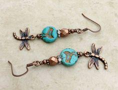 Turquoise Earrings Copper Earrings Bronze by SmockandStone on Etsy