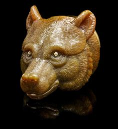 A Carved Brown Agate Bear's Head Decorative Box, : Lot 415