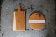 White Stripe Rectangular & Round Serving Board Set by Reese Supply Co on Scoutmob Shoppe