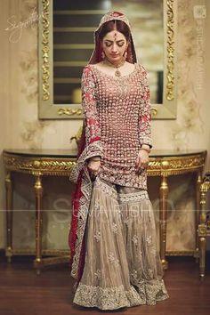 Pakistani Bridal Dresses 2017 2018 for Wedding Parties 7 Pakistani Bridal Dresses Online, Bridal Dresses 2018, Pakistani Wedding Outfits, Pakistani Bridal Wear, Bridal Outfits, Indian Bridal, Indian Dresses, Pakistani Sharara, Bride Dresses