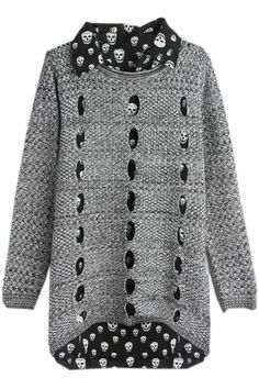 ROMWE   Two-piece Cut-out Skull Print Jumper, The Latest Street Fashion