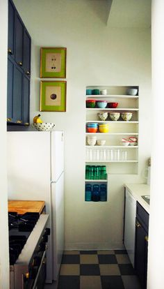 love the shelves in the walls - storage without taking up space