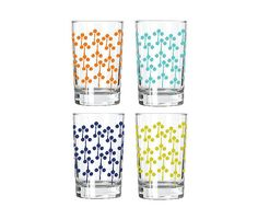 NEW JUICE GLASSES Lolli Pop by Erin Flett Soy Inks, dish washer safe, heavy base Set of 4 / you choose your color by erinflett