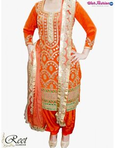 Give yourself a stylish & punjabi look with this Enthralling Orange Embroidery Punjabi Suit. Embellished with embroidery work & lace work. Available with matching bottom & dupatta. It will make you noticable in special gathering. For more details whatsapp us: +919915178418