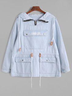 SheIn offers Blue Pocket Front Drawstring Waist Denim Hooded Sweatshirt & more to fit your fashionable needs. Teen Fashion Outfits, Outfits For Teens, Trendy Outfits, Stylish Dresses, Ladies Fashion, Fashion Dresses, Jugend Mode Outfits, Hoodie Sweatshirts, Hoodies
