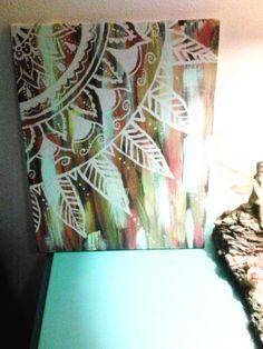 Acrylic on canvas bohemian mandala painting i did today!