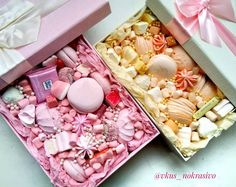 На данном изображении может находиться: еда Boxes Of Sweets, Dessert Boxes, Sweet Factory, Food Bouquet, Edible Bouquets, Cookie Packaging, Sweet Box, Handmade Chocolates, Meringue Cookies