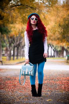 Discover this look wearing OASAP Bags, Zara Boots, Vintage Dresses - Preppy by RaniaKelesidou styled for Preppy, Amusement Park in the Winter Purple Tights, Zara Boots, Fashion Tights, All About Fashion, Hosiery, Preppy, Vintage Dresses, Mini Skirts, Fancy