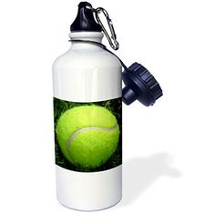 3dRose wb_184358_1 Tennis Ball Photo in the Grass Sports Water Bottle 21 oz White ** Continue to the product at the image link.
