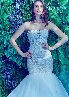 L'amour by Calla Blanche   Style 7284   Lace strapless fit and flare gown