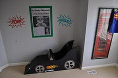 batmobile car reading nook boys room out of cardboard. Super cute idea, I would just make it a normal car though, Coop isn't into batman.