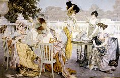 Stock Photo - Group of Women in Victorian-Era Dresses at Outdoor Tea Party, Painting, Circa 1880 Victorian Era Dresses, Victorian Women, Vintage Pictures, Pretty Pictures, Outdoor Tea Parties, Victorian Tea Party, Tea Bag Art, Lady In Waiting, Photo Grouping