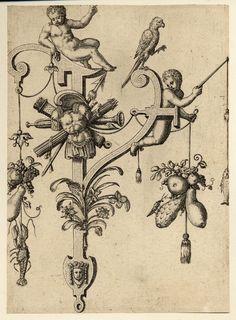 Nova Alphati effictio; Johann Theodor de Bry (Print made by); Y; letter of the alphabet representing Ypsilon with two putti; a lobster dangles lower