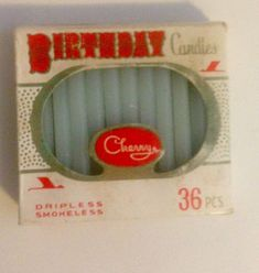 Vintage 36 pack of birthday candles by Cherry. Original cardboard box containing all 36 candles. Candles are bab blue in colour. Box is red and white. Picnic Tablecloth, Art Deco Decor, Blue Candles, Vintage Candles, Vintage Birthday, Dinner Napkins, Cherry Red, Vintage Pink, Baby Blue