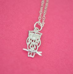 Sterling Silver Necklace with Owl charm by RachellesJewelryBox