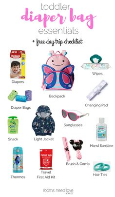 My Toddler Diaper Bag Essentials + Printable Checklist Diaper Bag Checklist, Diaper Bag Essentials, Travel Bag Essentials, Kid Essentials, Toddler Diaper Bag, Toddler Backpack, Diaper Bag Backpack, Diaper Bags, Baby Changing Bags