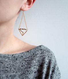 Geometric triangle pyramid metallic dangle earrings, geometric earrings. Play with geometric shapes.