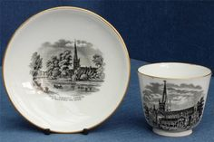 Royal Worcester Cup & Saucer for Holy Trinity Church Stratford on Avon 1881