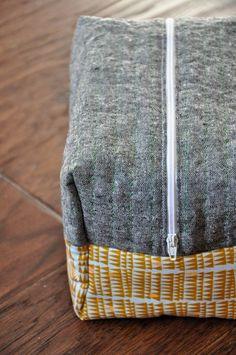 Boxy cosmetic bag tutorial that includes Babylock Sashiko detail stitching