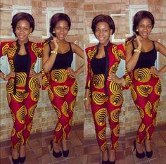 african print jacket & pants