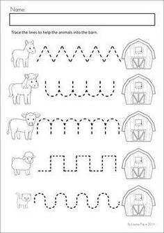 Pregrafismi MEGA Math & Literacy Worksheets & Activities - Down on the Farm. 100 Pages in total! A page from the unit: Pre-writing tracing practice. Preschool Writing, Preschool Printables, Preschool Lessons, Preschool Learning, Farm Animals Preschool, Preschool Ideas, Teaching, Preschool Assessment, Kindergarten Themes
