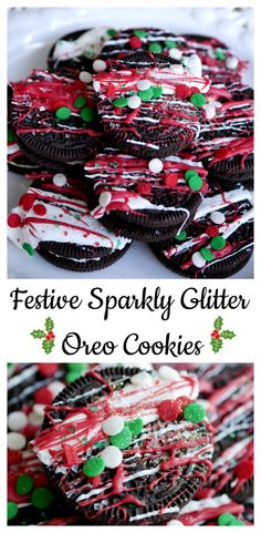 Create beautiful holiday cookies using Oreo, food glitter, and candy melts. Super easy way to create festive sparkly glitter Oreo cookies. #cookies #christmascookies #cookierecipe #holidaycookies #festivecookies #oreocookies #oreo