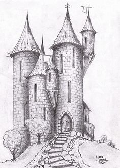Castle Sketch Drawing - Castle On The Hill By Deviantart Com On Deviantart 1000 Castle Drawing Stock Images Photos Vectors Shutterstock Kastelenimpressie Ontwerp V. Art Drawings Sketches Simple, Dark Art Drawings, Fantasy Drawings, Pencil Art Drawings, Cool Drawings, Sketch Drawing, Sketching, Castle Sketch, Castle Drawing