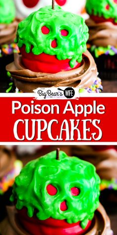 These wicked Poison Apple Cupcakes won't put your friends or family into a deep sleep but they will put a huge smile on their faces! Halloween Cupcakes, Halloween Treats, Halloween Party, Halloween Appetizers, Happy Halloween, Halloween Costumes, Easy Dinner Recipes, Easy Meals, Dessert Recipes