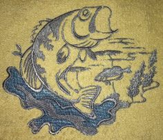 Embroidered bass fish towel sets with free by TheHappyvibe on Etsy, $18.00