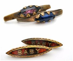 """Victorian Baby Pins Lot Enamel & Rhinestones Set of 4 Brooches Antique Jewelry  This is a 2 pair of antique gilt brass baby pins.  Each pin is 1"""" long and in good condition with some wear.  One set has rhinestones, the other red enameling.in Jewelry & Watches, Vintage & Antique Jewelry, Costume"""