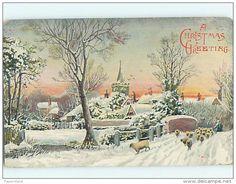 Pre-Linen Christmas FLOCK OF SHEEP CROSSING BRIDGE IN WINTER WONDERLAND HQ6336 - Christmas__1907 -PC