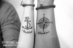 Anchor and compass with quote hold me guide me tattoo for couple on wrist at 181 tattoo studio Nashik. Best place to have couple tattoo. couples tattoo Couple tattoo on wrist Couple Wrist Tattoos, Sibling Tattoos, Small Couple Tattoos, Bff Tattoos, Friend Tattoos, Feather Tattoos, Married Couple Tattoos, Compass Tattoo, Anchor Tattoo Wrist