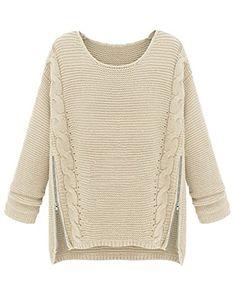 PrettyGuide Women Long Sleeve Side Zipper Cable Knit Pullovers Sweater Beige